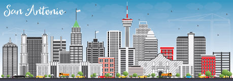 San Antonio Skyline with Gray Buildings and Blue Sky. Vector Illustration. Business Travel and Tourism Concept with Modern Architecture. Image for Presentation stock illustration