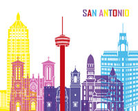 San Antonio skyline pop. In editable vector file stock illustration