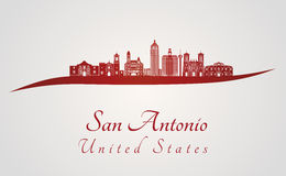 San Antonio skyline in red. And gray background in editable vector file stock illustration