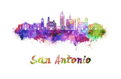 San Antonio skyline in watercolor Royalty Free Stock Photography