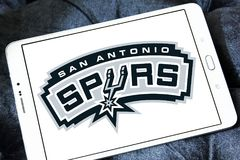 San Antonio Spurs american basketball team logo. Logo of San Antonio Spurs team on samsung tablet. The San Antonio Spurs are an American professional basketball stock photos