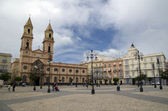 San Antonio square and church in Cadiz,Spain Stock Photos