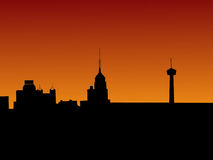 San Antonio at sunset. With colourful sky royalty free illustration