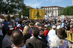 San Antonio Tea Party. Editorial photograph of signs, crowd and on stage Glenn Beck with Ted Nugent Royalty Free Stock Image