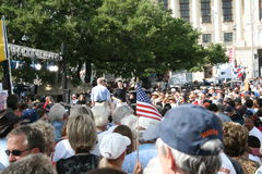 San Antonio Tea Party. This is Glenn Beck at the San Antonio Tea Party rally at the Alamo April 15, 2009 with crowds of people Royalty Free Stock Images