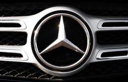 SAN ANTONIO, TEXAS - APRIL 13, 2018 - Closeup of the Mercedes-Benz emblem. stock image