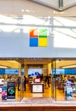 SAN ANTONIO, TEXAS - APRIL 12, 2018 - Entrance of the Microsoft store and showroom located at La Cantera Mall with people shopping stock photos