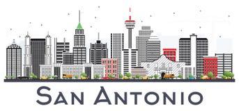 San Antonio Texas City Skyline avec Gray Buildings Isolated sur W illustration libre de droits