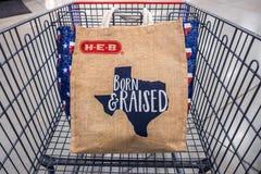 SAN ANTONIO, TEXAS - 9 DE NOVEMBRO DE 2018 - carrinho de compras com o saco de compras reusável de H-E-B com o esboço do estado d imagem de stock royalty free