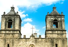 Bell towers of Mission Concepcion church in San Antonio Texas. San Antonio, Texas: Facade bell towers of the Mission Concepcion church, part of the San Antonio royalty free stock photo