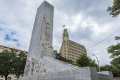 The Alamo Cenotaph monument in the city of San Antonio in Texas, USA. San Antonio, Texas - June 5, 2014: The Alamo Cenotaph monument in the city of San Antonio stock image