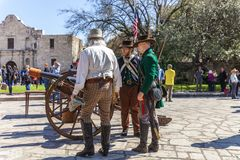 SAN ANTONIO, TEXAS - MARCH 2, 2018 - Men dressed as 19th century soldiers participate in the reenactment of the Battle of the Alam Stock Photos