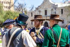 SAN ANTONIO, TEXAS - MARCH 2, 2018 - Men dressed as 19th century soldiers participate in the reenactment of the Battle of the Alam Stock Photography