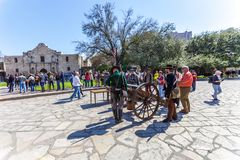 SAN ANTONIO, TEXAS - MARCH 2, 2018 - People gathered to participate in the 182nd commemoration of the Siege and Battle of the Alam. O, which took place between Royalty Free Stock Photos