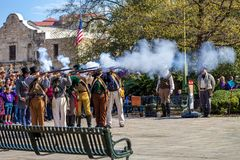 SAN ANTONIO, TEXAS - MARCH 2, 2018 - People participate in the reenactment of the Battle of the Alamo, which took place between Fe. Bruary 23 and March 6, 1836 royalty free stock photography