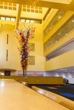 SAN ANTONIO, TEXAS - MATCH 26, 2018 - San Antonio Central Library lobby with glass sculpture `Fiesta Tower` designed by Dale Chihu. Ly stock images