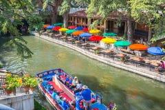 San Antonio Texas River Walk och fartygkryssning arkivfoton