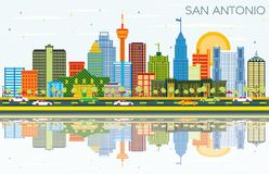 San Antonio Texas Skyline avec les bâtiments de couleur, le ciel bleu et la référence illustration stock