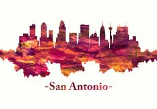 San Antonio Texas skyline in red. Red skyline of San Antonio, a major city in south-central Texas with a rich colonial heritage royalty free illustration