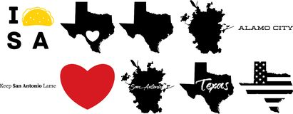 San antonio texas US map. With the american flag over texas map vector illustration