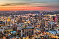 San Antonio Texas USA. San Antonio, Texas, USA downtown city skyline at dusk stock photo