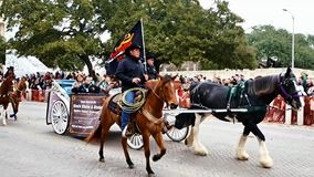 San Antonio, Texas USA - February 3 2018: Horse drawn carriage past the Alamo. San Antonio, Texas USA - February 3 2018: Horse drawn carriage and horses go past stock video footage