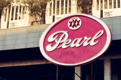SAN ANTONIO, TEXAS, USA - NOVEMBER 2, 2018 - Close up of the Pearl District sign. The Pearl is a culinary and cultural destination stock photo