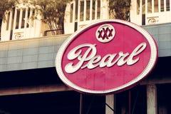 SAN ANTONIO, TEXAS, USA - 2. NOVEMBER 2018 - schließen Sie oben vom Perlen-Bezirkszeichen Die Perle ist ein kulinarischer und kul stockfoto