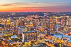 San Antonio, Texas, USA Skyline. San Antonio, Texas, USA downtown skyline from above at dusk royalty free stock photography