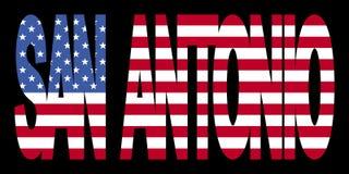 San Antonio text with flag. San Antonio text with American flag illustration Royalty Free Stock Photography
