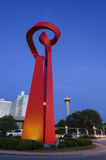 San Antonio Torch van Vriendschap bij schemer Stock Foto's