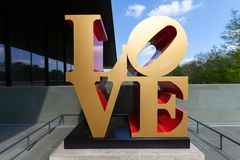 SAN ANTONIO, TX - aPRIL 3, 2018 - Robert Indiana`s famous LOVE sculpture at McNay Art Museum, the first modern art museum in the royalty free stock photos