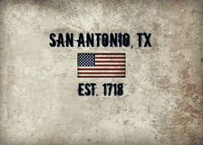 San Antonio, TX. The city of San Antonio, TX established in 1718 stock illustration