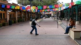 San Antonio, TX - 2 Feb 2015:  Trick roping entertainer with a rope lasso or lariat. Very popular in Mexican Charro culture stock video footage