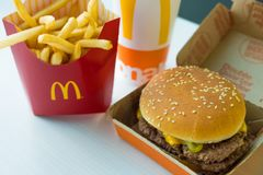 SAN ANTONIO, TX, USA - NOVEMBER 2, 2018 - McDonald`s Double Quarter Pounder Burger With Cheese, French Fries Potatoes And Drink Stock Photography