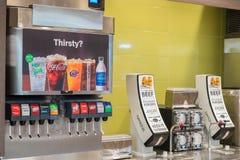 SAN ANTONIO, TX, USA - NOVEMBER 9, 2018 - Fountain drinks machine at McDonald`s restauran royalty free stock image