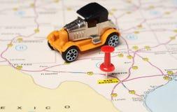 San Antonio  USA map retro car Stock Images