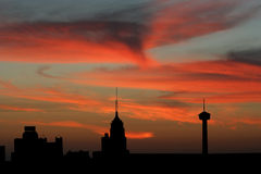 San- AntonioSkyline am Sonnenuntergang Stockfoto