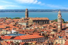 The San Apostoli bell tower and the Madonna dell`Orto tower in stock photo