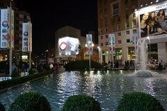 San Babila square in Milan during New Year's 2014 midnight. Stock Photography