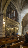 San Bartolome church in Logroño, Spain. Logroño, Spain - April 9, 2016. Parishioners in nave of San Bartolome church in Logroño, La Rioja. Spain stock photo