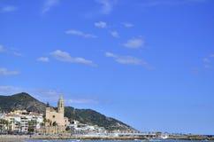 San Bartolome en Santa Tecla-kerk in Sitges, Catalonië, Spanje stock foto