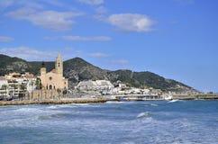 San Bartolome en Santa Tecla-kerk in Sitges, Cataloni?, Spanje royalty-vrije stock foto