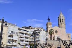 San Bartolome en Santa Tecla-kerk in Sitges, Cataloni?, Spanje stock afbeelding