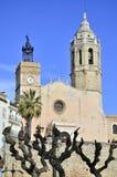 San Bartolome en Santa Tecla-kerk in Sitges, Cataloni?, Spanje royalty-vrije stock afbeelding