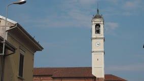 San Bartolomeo kościelny dzwonkowy wierza w Cassolnovo, PV, Włochy zdjęcie wideo