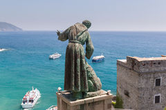 San Benedetto d`Assisi keeps watch over boats near Monterosso Royalty Free Stock Images