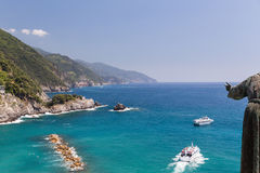 San Benedetto d`Assisi keeps watch over boats near Monterosso Royalty Free Stock Photos