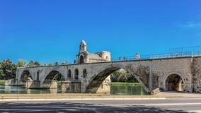 San-Benezet di Pont sul fiume Rodano a Avignone, Francia Fotografia Stock Libera da Diritti