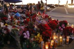 SAN BERNARDINO, CA. DECEMBER 17, 2015, A makeshift memorial at the Inland Regional Center (IRC) in San Bernardino, CA. San Bernard Royalty Free Stock Image